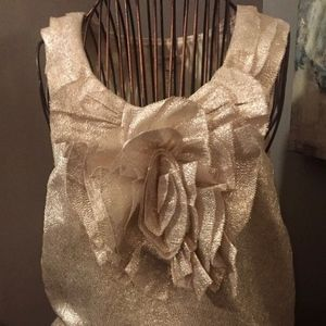 J CREW SLEEVELESS TOP WITH LARGE ROSETTE ACCENT